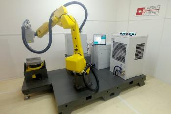 Mobile robotic workplace with hardening head Laserline